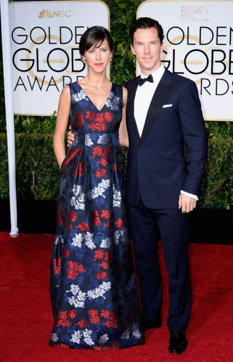 Theatre-director-Sophie-Hunter-and-actor-Benedict-Cumberbatch-arrive-to-the-72nd-Annual-Golden-Globe-Awards